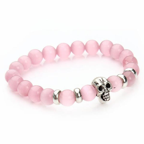 Image of (Limited Time Offer) Handmade Lava Stones Skull Bracelets