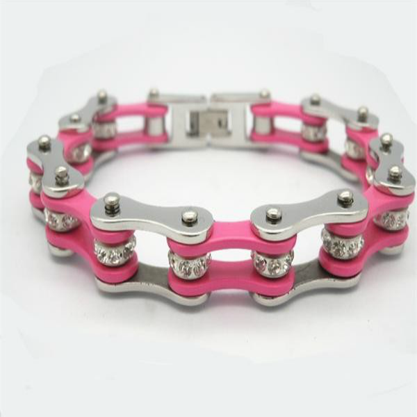 Pink Stainless Steel Bracelet with Crystals