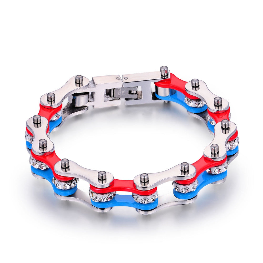 Red and Blue Stainless Steel Bracelet With Crystals