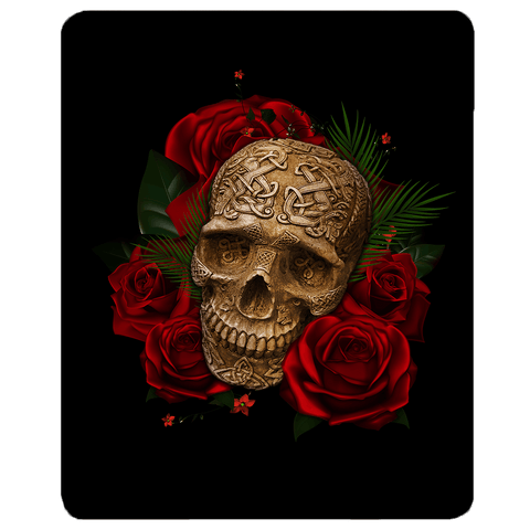 Image of Skull and Roses Sherpa Fleece Blanket