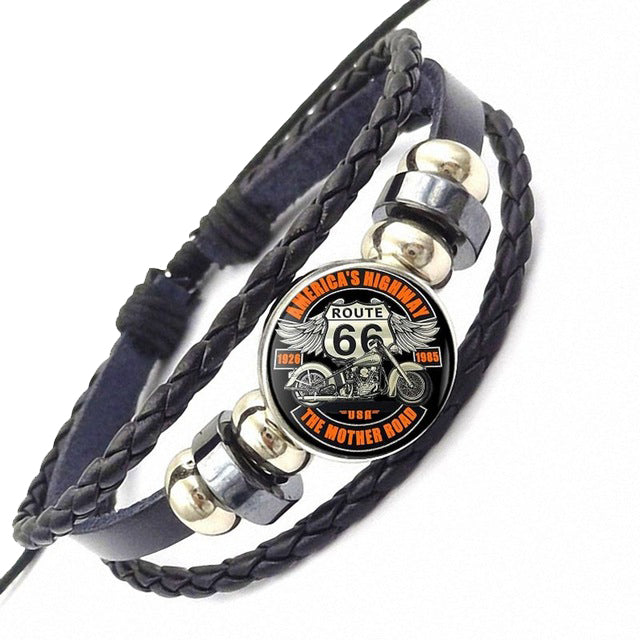Leather Route 66 Biker Bracelet