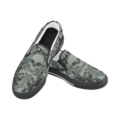 Women's Skull Graveyard Canvas Slip On Shoes
