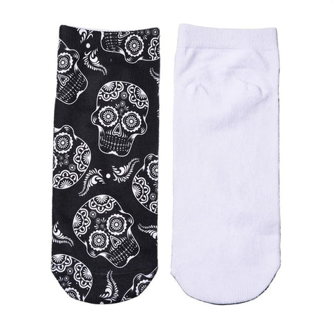 Skull Print Low Cut Ankle Socks