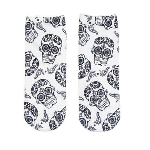 Image of Skull Print Low Cut Ankle Socks