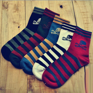 5 Pairs Striped Skull Ankle Socks
