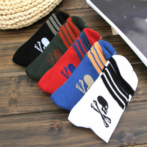 Image of 5 Pairs Striped Skull Ankle Socks