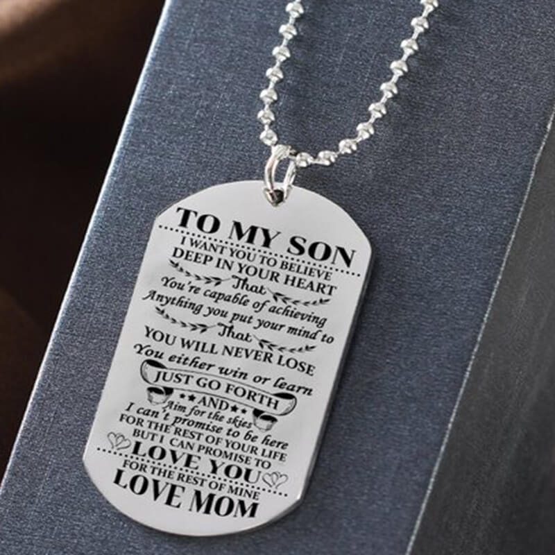 To My Son Tag Style Necklace