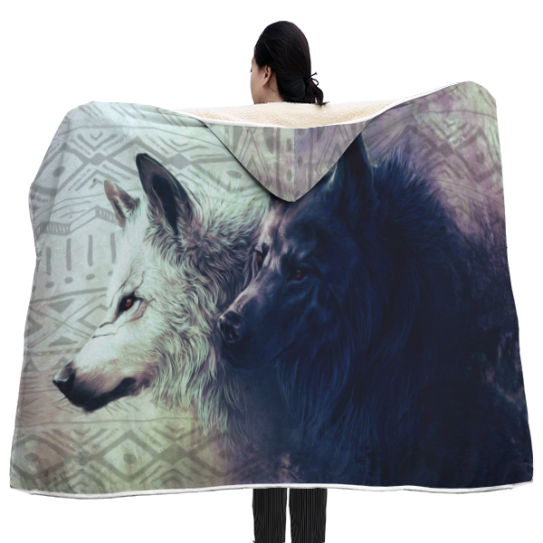 Twin Wolves Hooded Blanket