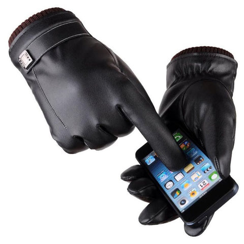 Cashmere Lined Leather Black Gloves