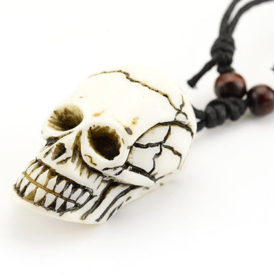 Handcrafted Wood Resin Skull Necklace