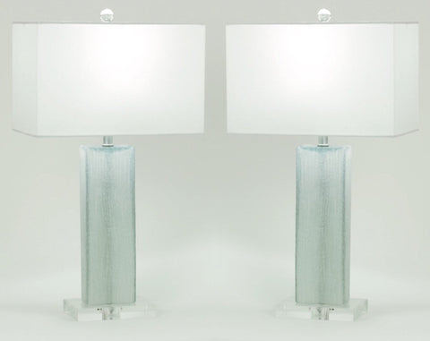 Waterflow Aqua Glass Table Lamp Set Of 2 Herringbone And Company