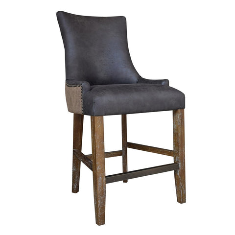 Pleasing Sandi Eco Leather And Linen Counter Stool Set Of 2 Gmtry Best Dining Table And Chair Ideas Images Gmtryco