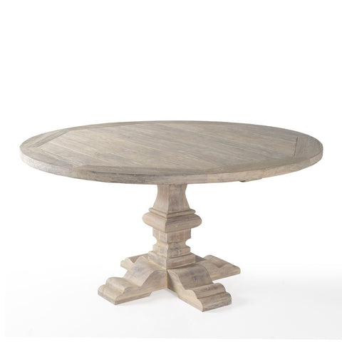 Palma 59 Round White Washed Teak Outdoor Dining Table