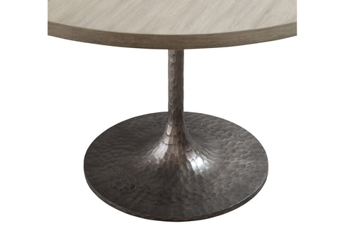 ... Abaca Wood And Hammered Iron Round Dining Table ...