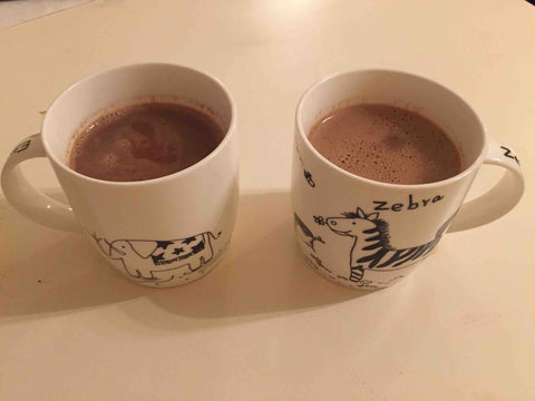 Two happy cups filled with Hot Chocolate!
