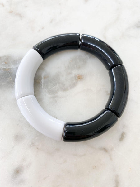 Black & White Boho Bangle Bracelet