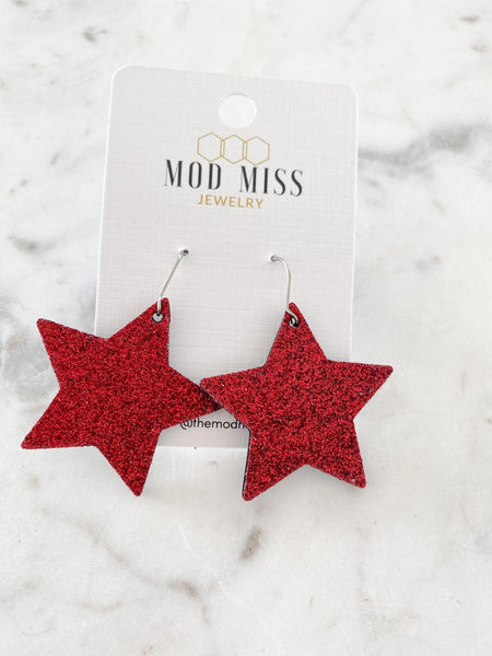 Fine Glitter (Thick) Red Star Earrings