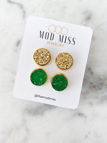Set of 2: Gold and Green Druzy in Gold Setting Stud Earrings
