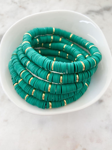 Kelly Green With Gold Disc Color Pop Bracelet