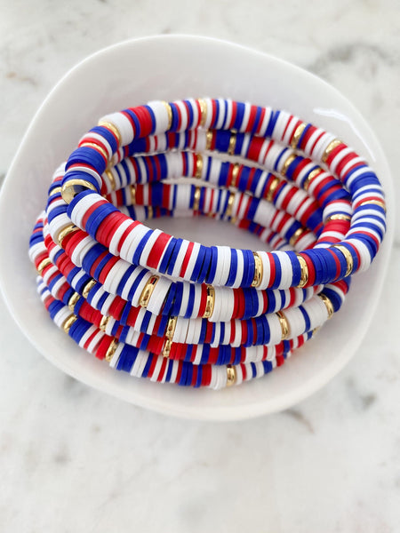 Red, White & Blue With Gold Disc Color Pop Bracelet