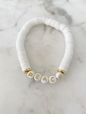 Peace White Color Pop Bracelet
