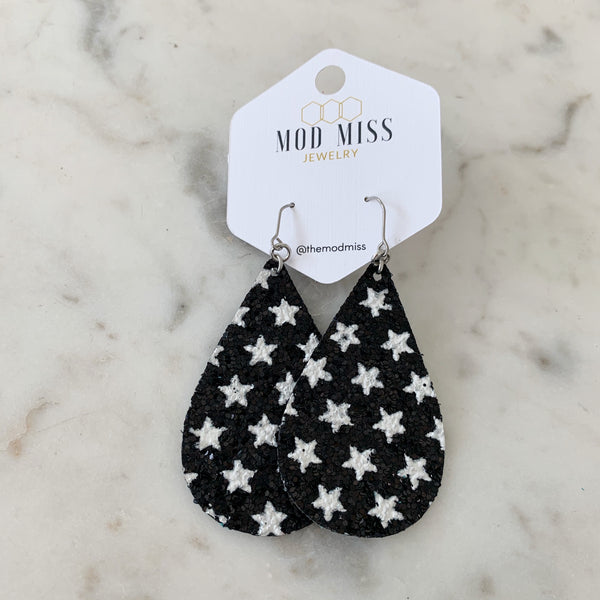Black & White Stars Glitter Canvas Teardrop
