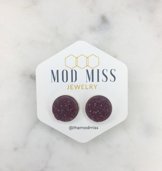 Maroon Druzy Stud Earrings