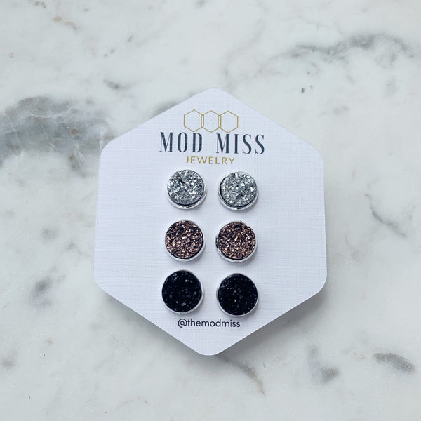 Set of 3: Silver, Rose Gold & Black Druzy Stud Earrings