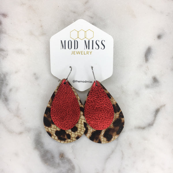 Metallic Red + Crackle Leopard Stacked Teardrop Leather Earrings