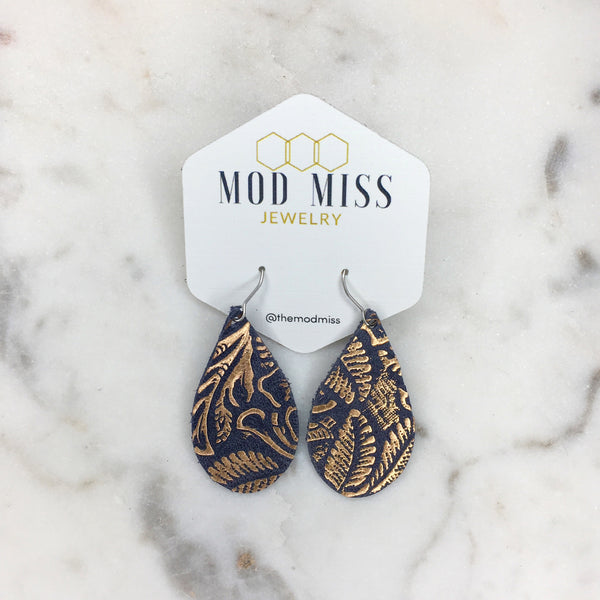 Rose Gold on Navy Teardrop Leather Earrings