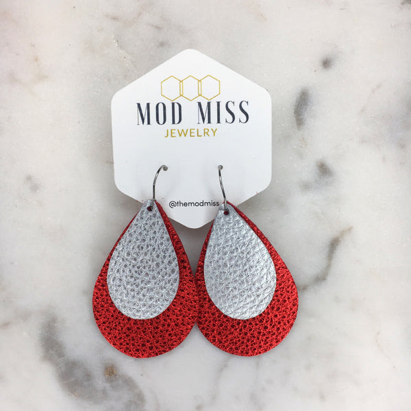 Metallic Red + Metallic Silver Stacked Teardrop Leather Earrings