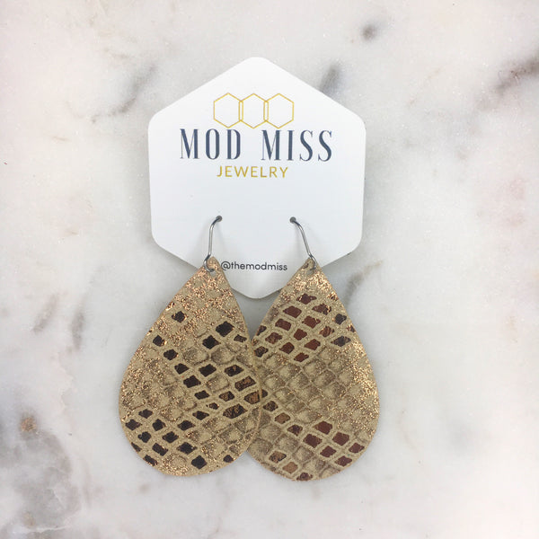 Rose Gold Snake Skin Teardrop Leather Earrings