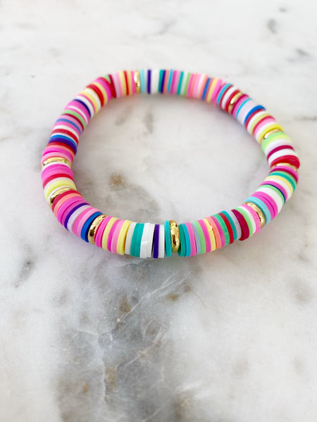 Multi Rainbow with Gold Disc Color POP Bracelets