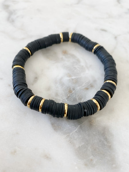 Black with Gold Disc Color POP Bracelets