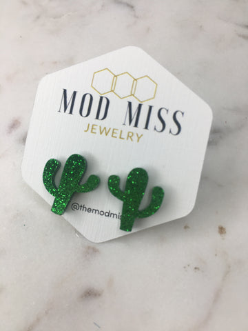 Glitter Cactus Stud Earrings