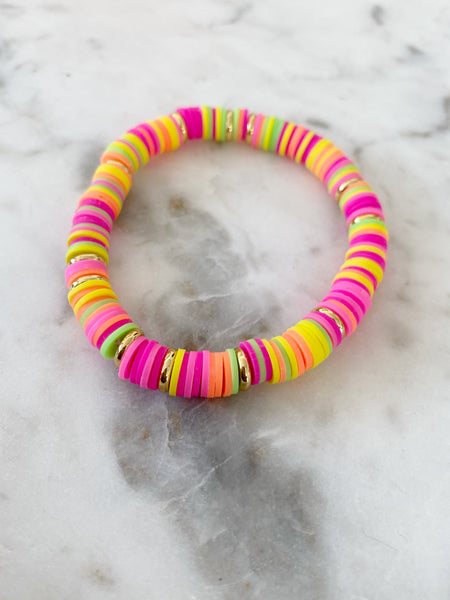 Neon Multi with Gold Disc Color POP Bracelet