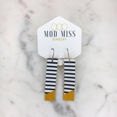 Black & White on Yellow Suede Bar Earrings