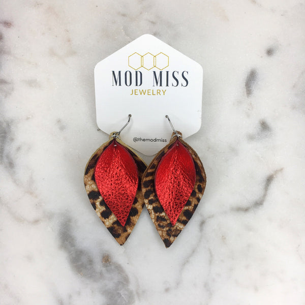 Crackle Leopard + Metallic Red Stacked Petal Leather Earrings