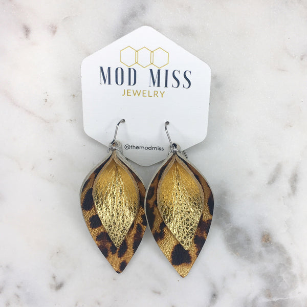 Metallic Leopard + Metallic Gold Stacked Petal Leather Earrings