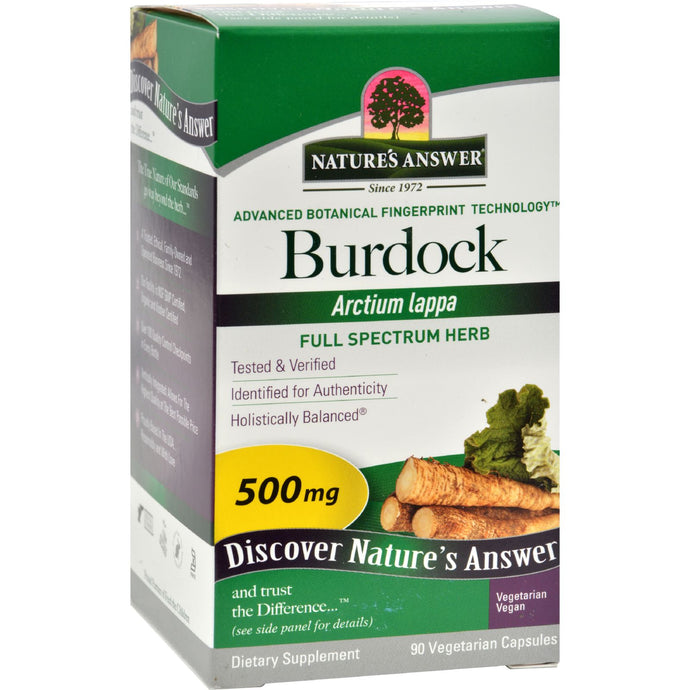 Nature's Answer Burdock Root - 90 Vegetarian Capsules