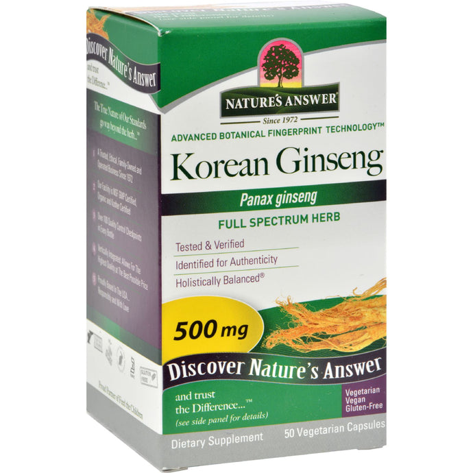 Nature's Answer Korean Ginseng Root - 50 Vegetarian Capsules