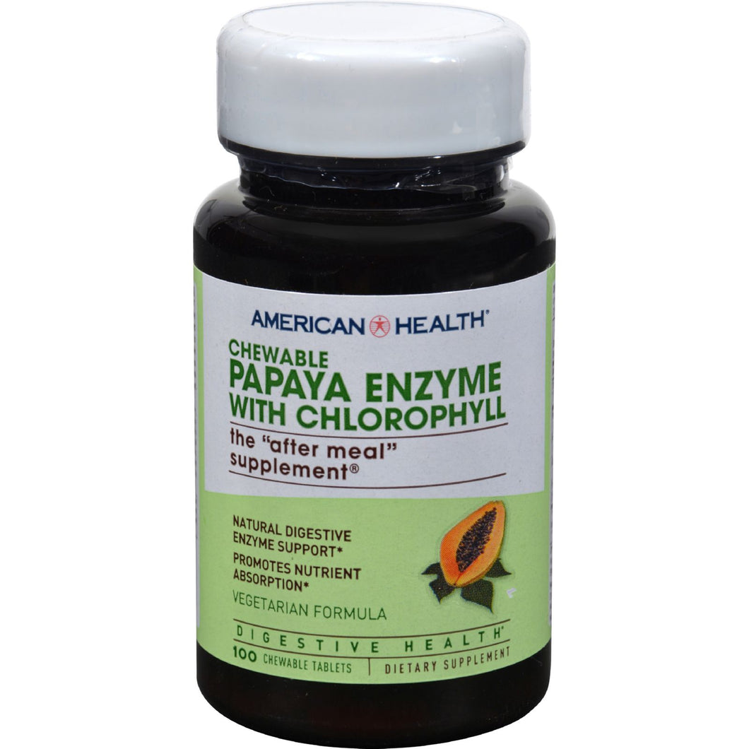 American Health Papaya Enzyme With Chlorophyll Chewable - 100 Chewable Tablets