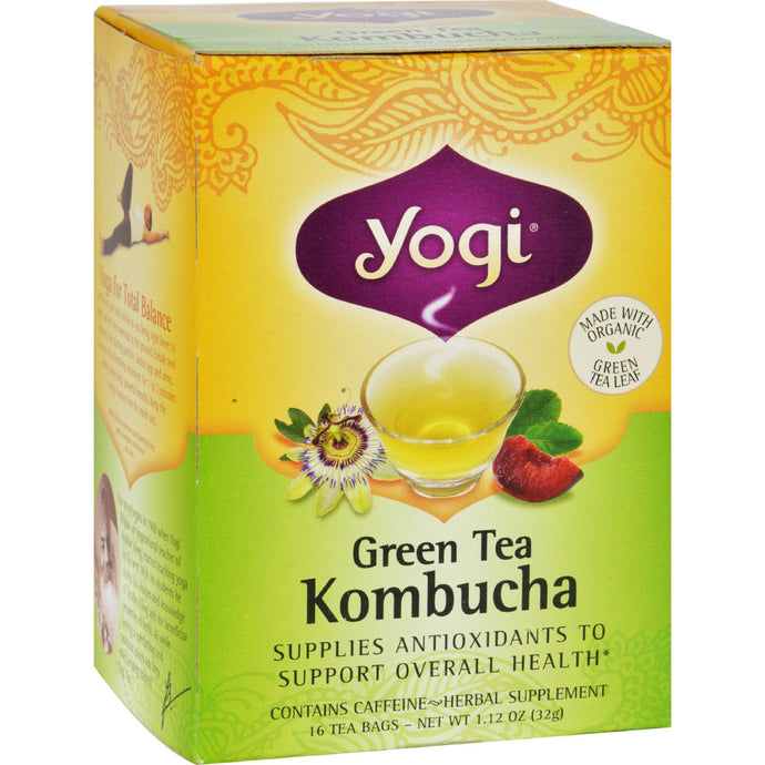 Yogi Herbal Green Tea Kombucha - 16 Tea Bags - Case Of 6