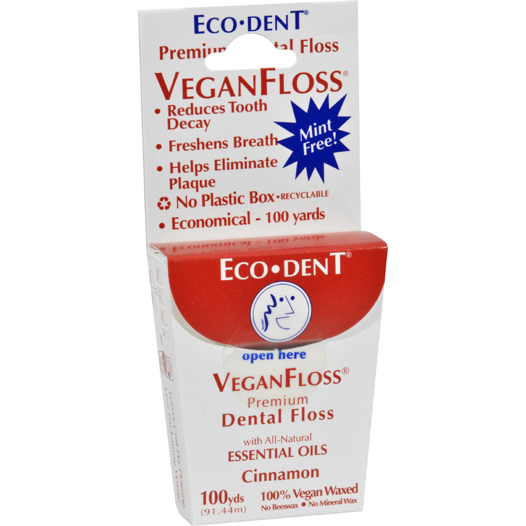 Eco-dent Veganfloss Premium Dental Floss Cinnamon - 100 Yards - Case Of 6