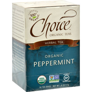 Choice Organic Teas Peppermint Herb Tea - 16 Tea Bags - Case Of 6
