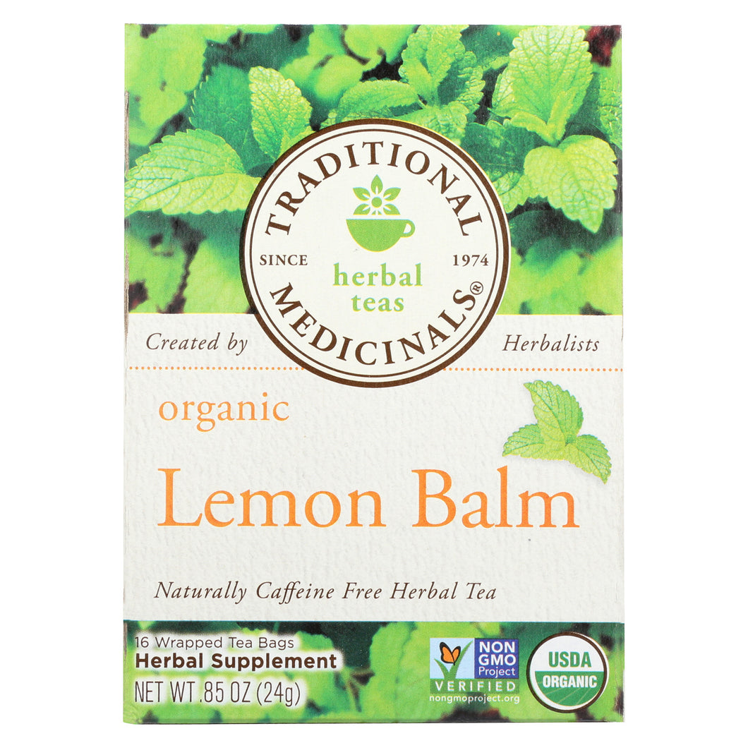 Traditional Medicinals Organic Herbal Tea - Lemon Balm Lemon Bal, Og2 - Case Of 6 - 16 Bags