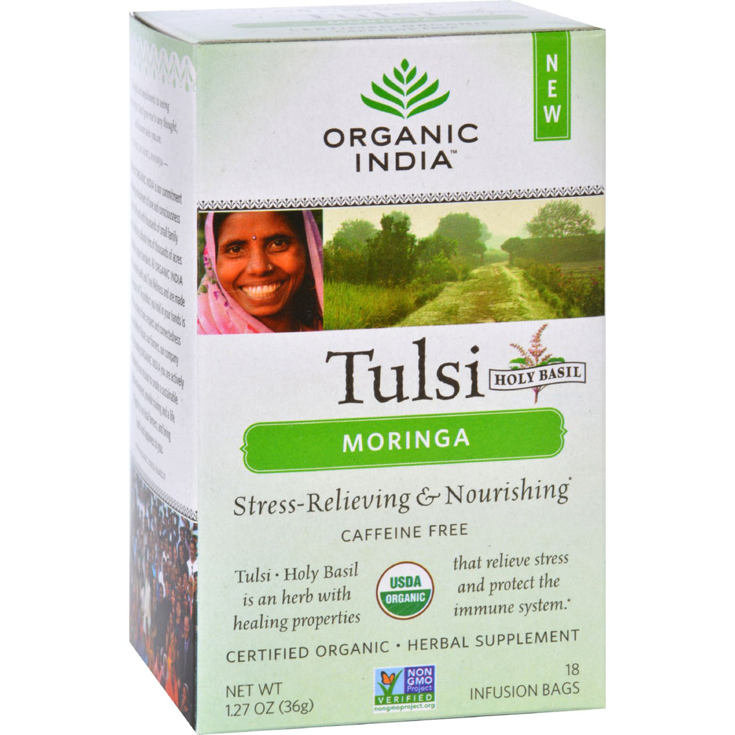 Organic India Tulsi Tea - Organic - Moringa - 18 Tea Bags - 1 Case