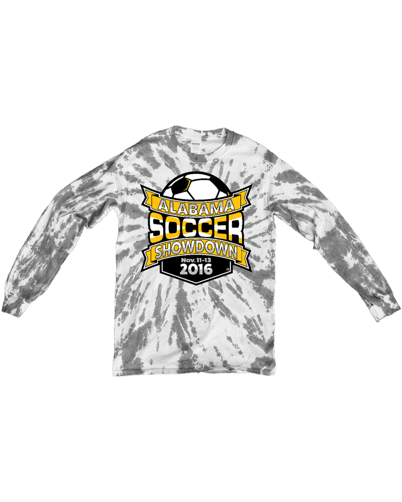 Grey Tie-Dye Long-Sleeve Shirt Alabama Soccer Showdown