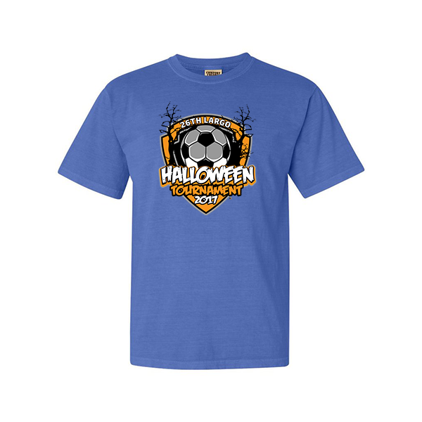 Comfort Colors Flo Blue T-Shirt 26th Largo Halloween Tournament