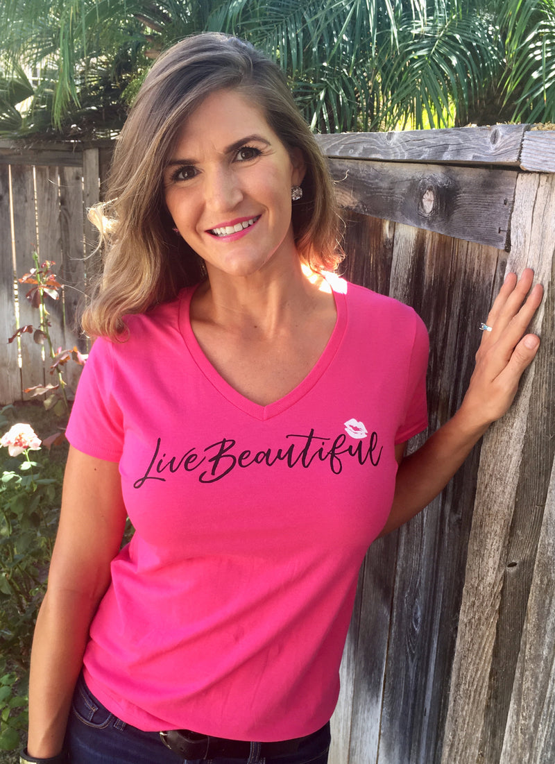 Live Beautiful! - Pink Lightweight V-Neck T-Shirt